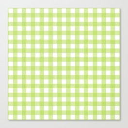 Green gingham pattern Canvas Print