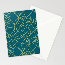 Dark Yellow Scribbled Lines Abstract Hand Drawn Mosaic on Tropical Dark Teal Inspired by Sherwin Williams 2020 Trending Color Oceanside SW6496 Stationery Cards