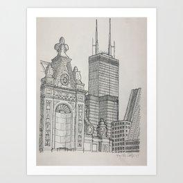 Chicago - Wrigley and Willis Art Print