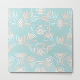 Palm Leaves Lace on Aqua Metal Print