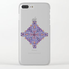 Gloomy purple mandala pattern Clear iPhone Case