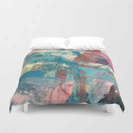 Sugar Rush [2]: a colorful, abstract mixed media piece in pinks, blues, and gold Duvet Cover