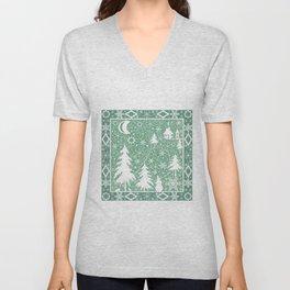 Lace Christmas pattern Unisex V-Neck