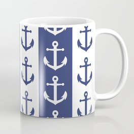Nautical Sailor Stripes with Anchor Pattern Blue 241 Coffee Mug