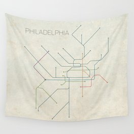 Minimal Philadephia Subway Map Wall Tapestry