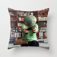 globe Throw Pillows featuring Globe by Kelly Nicolaisen