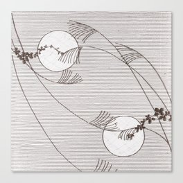 Two Moons Stencil,19th century Japan Canvas Print