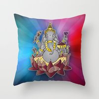 ganesh Throw Pillows featuring Ganesh by Street But Elegant