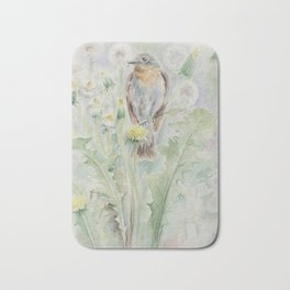 Flycatcher Wildlife watercolour bird painting Bird lover decor Bath Mat