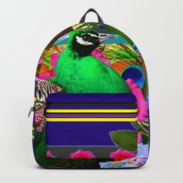 INDIGO & PINK-RED  ROSES GREEN PEACOCK IRIS FLORAL Backpack