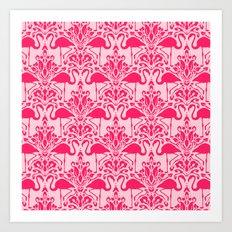 Flamingo Damask Art Print