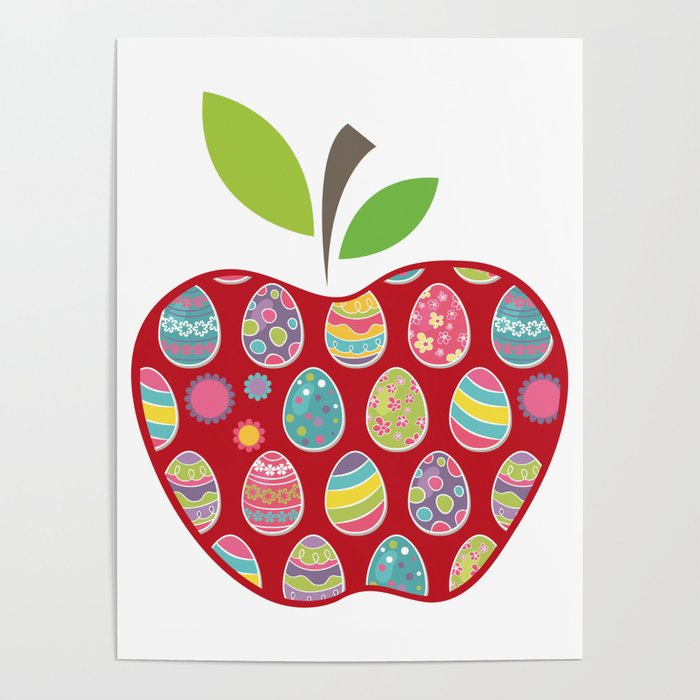 Easter Egg Hunt In Apple Funny Teacher Poster by aombin