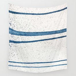 Parallel Universe [horizontal]: a pretty, minimal, abstract piece in lines of vibrant blue and white Wall Tapestry