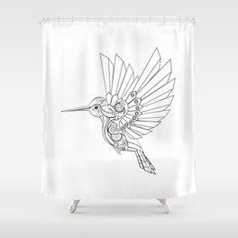 Contour Steampunk Mechanical Hummingbird Shower Curtain
