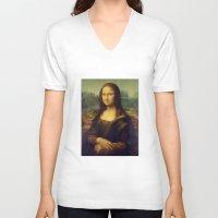 mona lisa V-neck T-shirts featuring Mona Lisa by Leonardo da Vinci by Palazzo Art Gallery