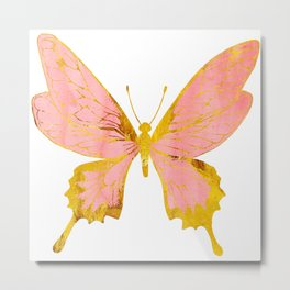 Single Pink and Gold Metallic Butterfly Metal Print