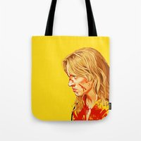 bill Tote Bags featuring kill Bill by Maioriz Home