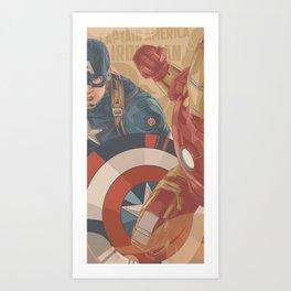 Super Hero CaptainAmerica vs IronMan Retro Edition Art Print