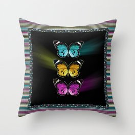 3 colorful butterflies Throw Pillow