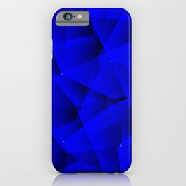 Repetitive overlapping sheets of gloomy blue paper triangles. iPhone Case