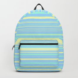 Sky Blue & Light Yellow Candy Lines Backpack