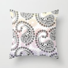 Funky Pinwheel Paisley Design Throw Pillow