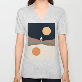 Cat Landscape 56 Unisex V-Neck