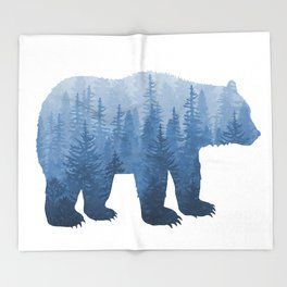 Misty Forest Bear - Blue Throw Blanket