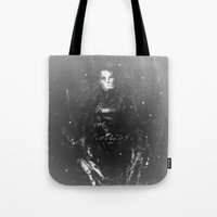 edward scissorhands Tote Bags featuring Edward Scissorhands by Carlo Spaziani