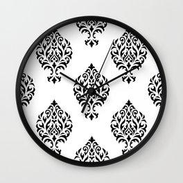 Orna Damask Pattern Black on White Wall Clock
