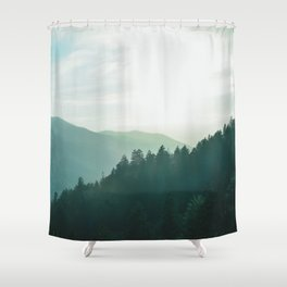 Green Forest, Slow down! Shower Curtain
