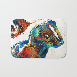 Colorful Skunk Art - Dee Stinktive - By Sharon Cummings Bath Mat