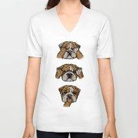 english bulldog V-neck T-shirts featuring Noevil English Bulldog by Huebucket