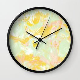 Marble Mist Yellow Green Pink Wall Clock