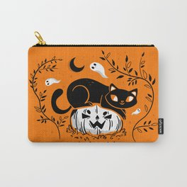 Spooky Cat - Mid Century Vintage Orange Carry-All Pouch