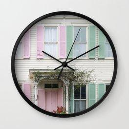 Rainbow Row Houses in Savannah Wall Clock