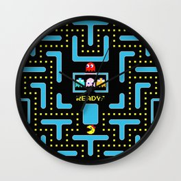 pac-man blue Wall Clock