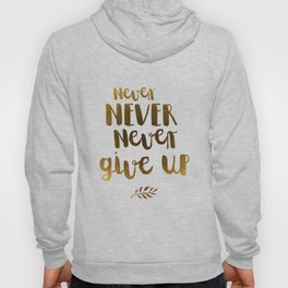 Never NEVER Never give Up Inspirational Quote Hoody