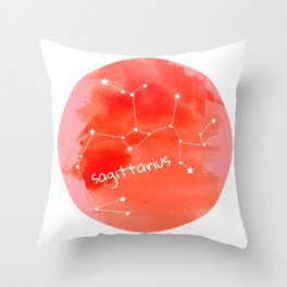 Watercolor Sagittarius Constellation Throw Pillow