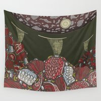 meat Wall Tapestries featuring meat monuments by thefleafarm (Amy Wright)
