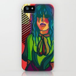 Color Blind - Bright Colorful Surreal Portrait of Woman, Painting iPhone Case
