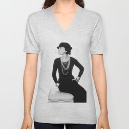 Fashion Icon, French Woman with Pearls, Black and White Art Unisex V-Neck