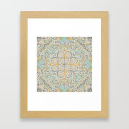 Gypsy Floral in Soft Neutrals, Grey & Yellow on Sage Framed Art Print