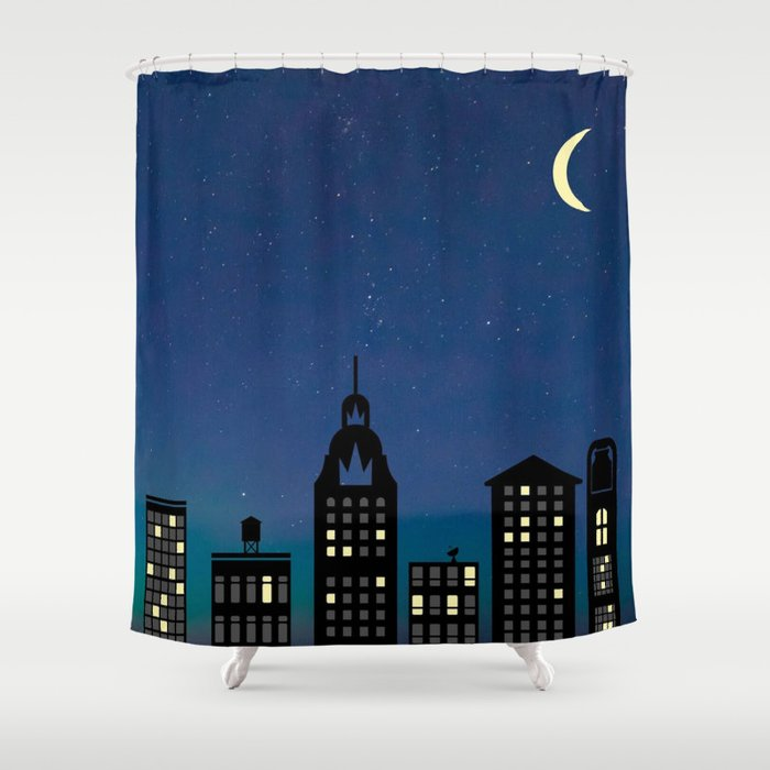 Night Life- The City Shower Curtain