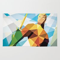 dc comics Area & Throw Rugs featuring DC Comics Aquaman by Eric Dufresne