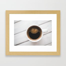 Happy Coffee- Coffee with a smiley face Framed Art Print