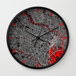 Tokyo City Map of Japan - Oriental Red Wall Clock