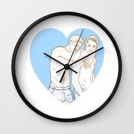 DeanCas Heart Hug (Blue) Wall Clock