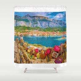 Makarska Bay   Croatia  Shower Curtain