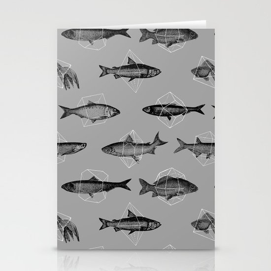 Fishes In Geometrics (Grey) Stationery Cards